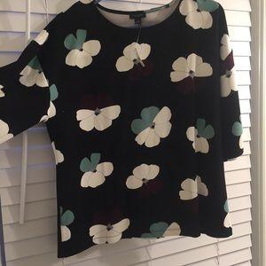 Ann Taylor Factory 3/4 Sleeve Floral Top NWT